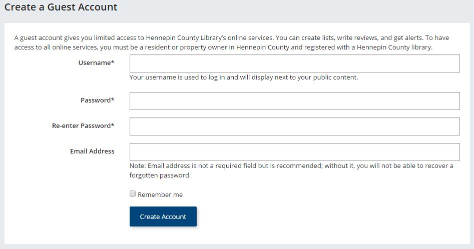 Guest account form screenshot