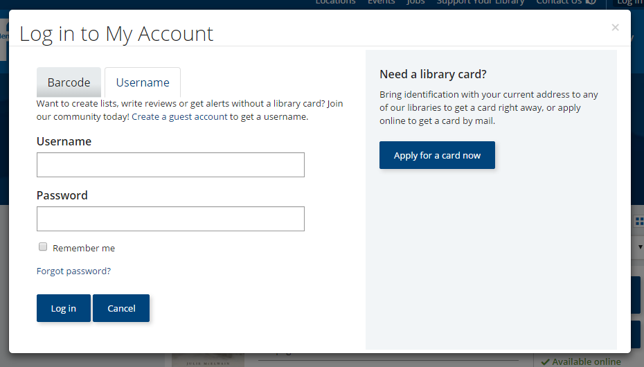 Login page screenshot